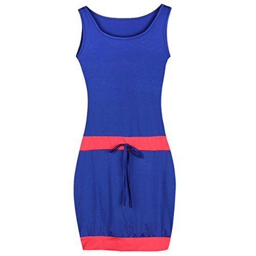 QIYUN.Z Frauen Sleeveless Sommer Mini Sundress Beiläufiges Bodycon Drawstring Kurzes Kleid Königsblau