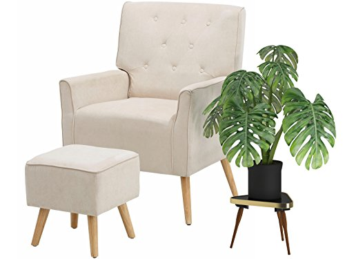 Loft24 Michi TV-Sessel Fernsehsessel mit Hocker Polstersessel Relaxsessel Lesesessel (Creme, Microfaser, mit Relaxfunktion)