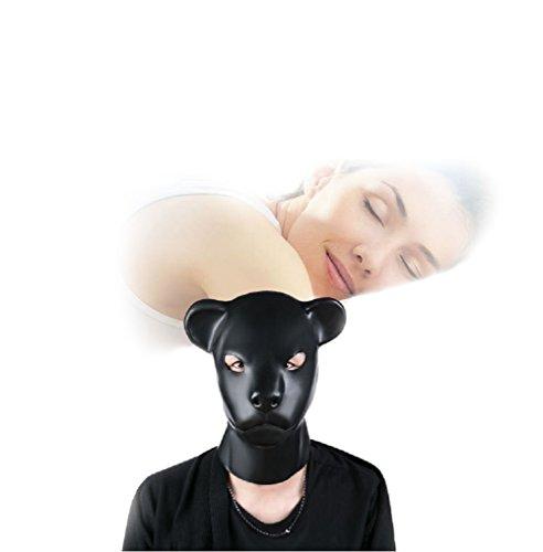 Harness Männliche Sex Leder (Duzzy Latex Gummi Fetisch Aninal Maske mit Rücken Reißverschluss Hundsklave Kapuze 100% natürliche Blindversion Kostüm Party mit Rückenreißverschluss)
