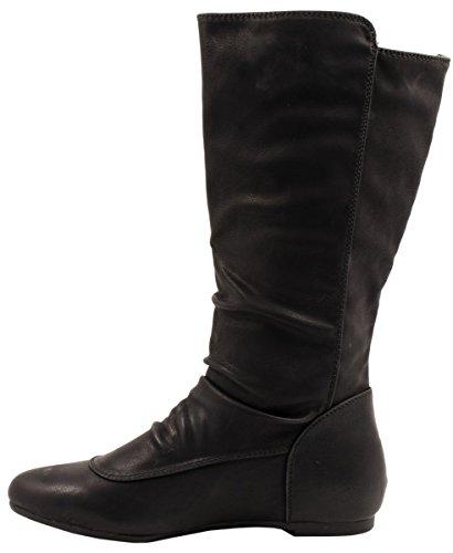 Elara Damen Stiefel | Flache Schlupfstiefel | Nieten Lederoptik Schwarz