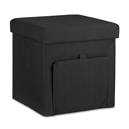 Relaxdays Faltbarer Sitzhocker, Leinen, Sitzwürfel, Aufbewahrungsbox mit Klappe, abnehmbarer Deckel, Sitzcube, stabil, Fußablage, HxBxT 38 x 38 x 38 cm, schwarz