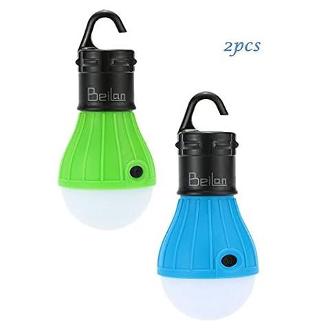 2pcs LED Camping Light Portable Zelt Beleuchtung Birne Wasserdichte Lampe Outdoor Notfall Laterne für Wandern Angeln Jagd Backpacking Bergsteigen Aktivitäten (Grün & Blau)