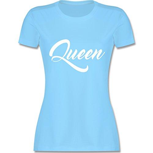 Shirtracer Partner-Look Pärchen Damen - Queen Pärchen Lettering - Damen T-Shirt Rundhals Hellblau