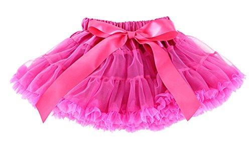 DATO Mädchen Kinder Rock Petticoat Underskirt Tanzkleid Tutu Kostüme Mehrschichtige Röcke, rose red 2XL