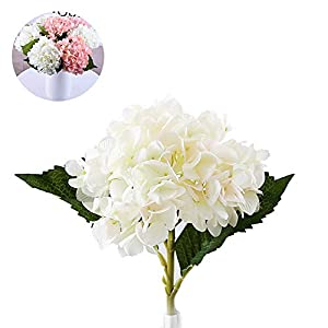 Ouken Artificial de Flores de Hortensia Grandes Cabezas de Seda Blanco Manojo Ramo Fiesta de la Boda Decoración para el…