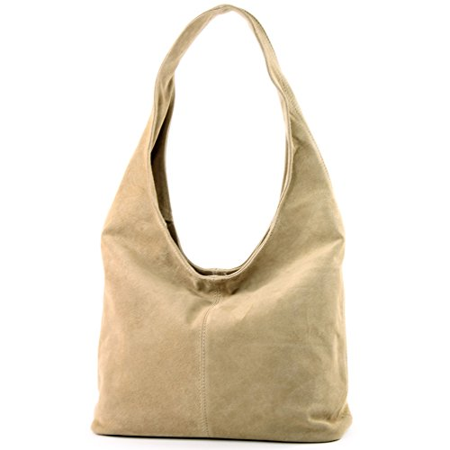 Modamoda de - ital Sac à bandoulière en cuir Sac à bandoulière Damentasche Wildleder T150, Präzise Farbe (nur Farbe):Sandfarben