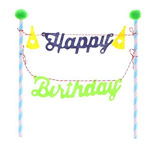YeahiBaby Geburtstag Kuchendeckel, personalisierte Kuchen Banner, süße Kuchen Dekoration für Baby-Dusche, 1st Geburtstag, Geburtstagstorte Topper (Grün)