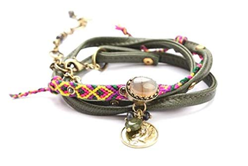 EXOAL Armband Bracelet Leather Twister - beige/multi/gold