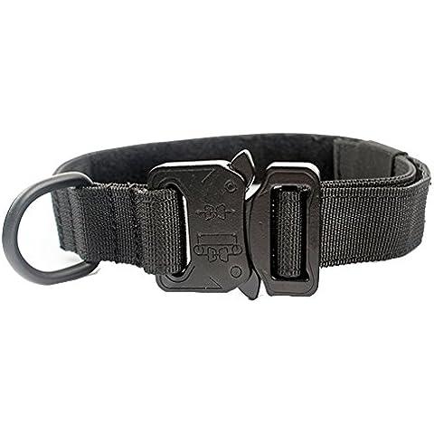 Yisibo Collare per cani tattico militare di addestramento regolabile Harness Molle Nylon collare di cane (Navy Ago)