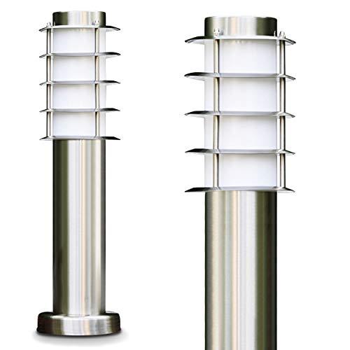 Sockelleuchte Tunes - Pollerleuchte aus Edelstahl - 45cm hoch - ebenerdige Stehlampe - schmale Wegeleuchte für den Garten, das Beet oder den Eingangsbereich - Stehlampe außen - 1xE27-Fassung - 40W