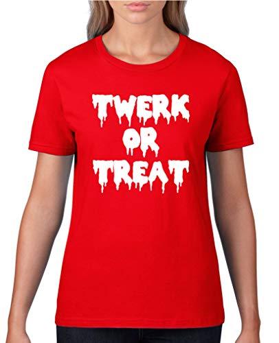 Comedy Shirts - Twerk or Treat - Halloween - Damen T-Shirt - Rot/Weiss Gr. XS