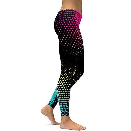 GUOxufei Atmungsaktive Yoga-Leggings für Damen, farbige beschnittene Hose mit Punktdruck, elastische eng anliegende Sport-Bleistift-Hosen,1,S - Beschnitten Spandex-leggings