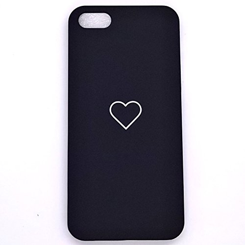 Luxus Slim niedlicher Herz stoßfest PC Handy Fall Back Cover für Apple iPhone, iPhone SE 5s 5, schwarz (Luxus Iphone 5 Fall)
