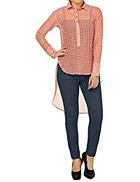 ROOLIUMS (Brand Factory Outlet) Women's pretty casual top with check prints all over. Full sleeves with extra large cuffs. (Multi-Coloured, Medium)
