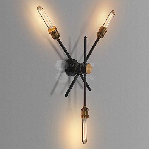BESPD Nach einer minimalistischen Zeitgenössische amerikanische Retro Eisen Wandleuchte Dual Head Rotation zu Wohnzimmer Restaurant Flur Treppe Schlafzimmer Bett Lampen drehen drei Eisen Kopf - Chrome Zeitgenössische-bett