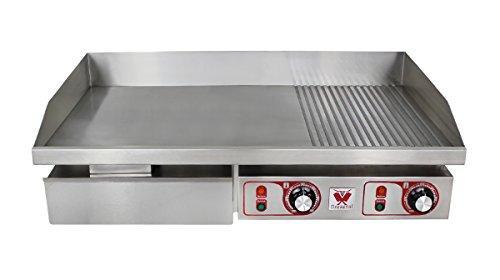 Elektrogrill Grillplatte (Beeketal 'BGP-b2' Profi Gastro Gusseisen Grillplatte elektrisch mit 2 separat regelbaren Grillzonen, stufenlos regelbar 50-300 °C (4400 Watt), Edelstahl Spritzschutz und großem Fett Auffangbehälter)
