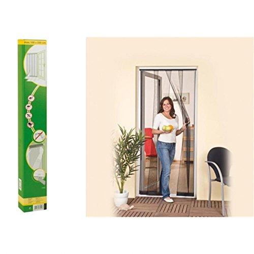 easy life Insektenschutz Tür Vorhang 100 x 220 cm Polyester Anthrazit Lamellenvorhang mit PVC Klemmleiste Fliegenvorhang