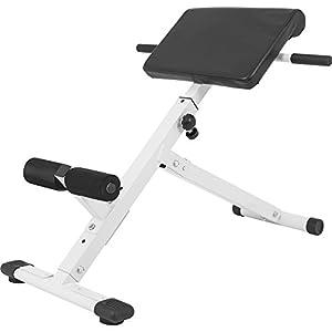 GORILLA SPORTS® Rückentrainer klappbar Hyperextension – Bauchtrainer mit Gepolsterter Beinfixierung Schwarz/Weiß