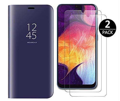 Dedux Funda jm-Xiaomi Mi 9 SE + [2 Pack] Protector de Pantalla - Modelo Inteligente Fecha/Hora Ver Espejo Brillante tirón del Caso Duro con para el jm-Xiaomi Mi 9 SE,Azul Púrpura