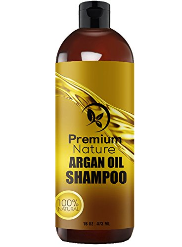 Argan Oil Organic Daily Shampoo - 473 ml Rejuvenates Heat Damaged Hair Nourishes & Prevents Breakage Sulfate Free - All Hair Types - Dry Damaged Colored Hair - Volumizing & Moisturizing Premium Nature