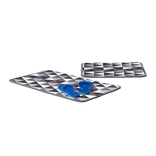 Relaxdays Badgarnitur Set gemustert 2-teilig Polyester Badematten waschbar HBT: 1 x 75 x 45,5 cm grau