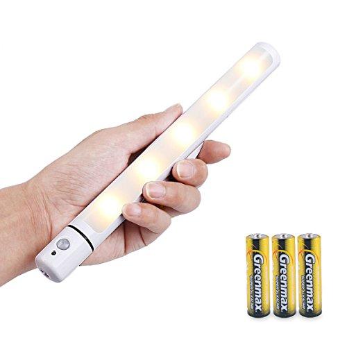 Night Lights Warm Weiß , Firecore 5 LED Motion Sensor AA-Batterie Powered (enthalten), Schrank Beleuchtung Wireless Licht Bar mit aufgeklebtem Magnetstreifen für Kleiderschrank Schrank Schrank Treppe (Camping Motion Sensor)