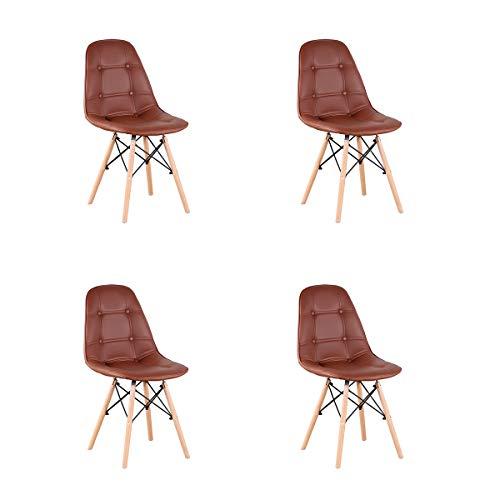 Sim Luxury Esszimmerstühle aus Leder 4er-Set Gepolsterter Mid-Century Tufted Nailhead-Stuhl mit Rückenlehne im Modernen Stil für die Esszimmerküche im Wohnzimmer (Braun)