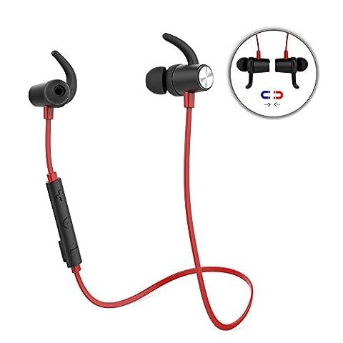 dodocool Intra-auriculaires à l'oreille écouteur Bluetooth Magnétiques Sportif Stéréo sans fil avec HD Mic CVC (Livello Magnetico Indicatore)