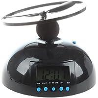 SODIAL(R)Kuppel fliegender Wecker Hubschrauber Uhr - Schwarz