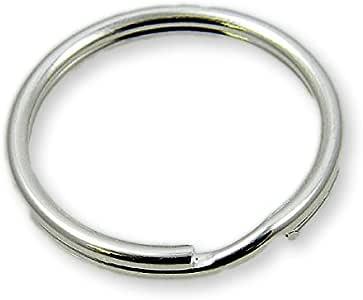 25/mm -/Lot de 50 anneaux de porte-cl/és Plaqu/é nickel m/édaille pour chien Anneau bris/é double en acier