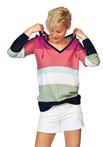 KangaRoos Damen Feinstrick Streifen Pullover Kapuze Color Blocking (Mehrfarbig, 36/38) (Blocking Pullover Color Frauen)