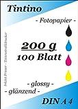 100 Blatt Fotopapier DIN A4 200g/qm high -glossy glaenzend - sofort trocken -wasserfest-hochweiß-sehr hohe Farbbrillianz fuer InkJet Drucker Tintenstrahldrucker