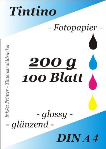 Tintino Fotopapier/100 Blatt - 200g/qm DIN A4 -glossy glaenzend - sofort trocken - wasserfest - sehr hohe Farbbrillianz fuer InkJet Drucker Tintenstrahldrucker -hochweiß