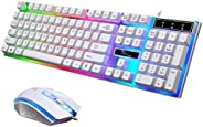G21 Keyboard Wired USB Gaming Mouse Flexible Polychromatic LED Lights Computer Mechanical Feel Backlit Keyboar