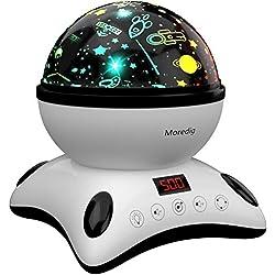 Moredig Lámpara Proyector Estrellas, 360° Rotación Músic Lampara con Temporizador led Pantalla y Control Remoto, 8 Modos Romántica luz de la Noche, Perfecto Regalo Para Bebés(Blanco y Negro)