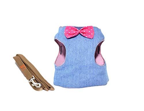 WINNER POP Puppy Mesh Vest Harness, Verstellbarer Puppy Kitten Walking Harness für besten Komfort und Sicherheit, Denim Solid Color, L - Kontrast Stitch Denim