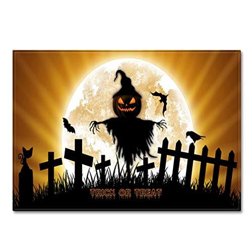 AMON LL Große Teppiche des Halloween-Musters für Wohnzimmer, rutschfeste Sofa Tatami-Boden-Matten-Nachttischdecken für Halloween-Dekoration
