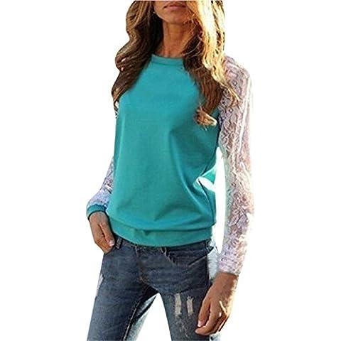ZANZEA Donna Sexy Manica Lunga T-Shirt con Pizzo Top Party Obertail OL Bluse e Camicie