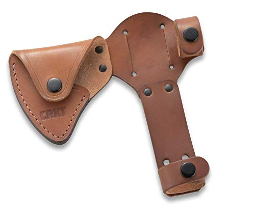 CRKT Woods Chogan Tomahawk Hülle: Vollnarbtes Leder, mehrere Druckknöpfe, Gürtelschlaufen für sicheres Tragen von T-Hawk, zur Verwendung mit CRKT 2730 D2730