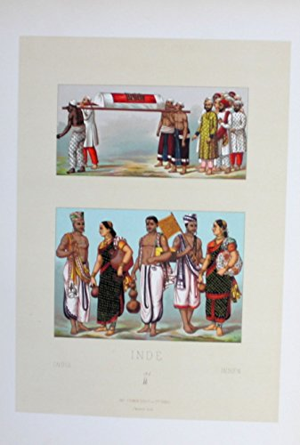 (Inder Paar couple costumes Tracht Indien India Lithographie lithograph)