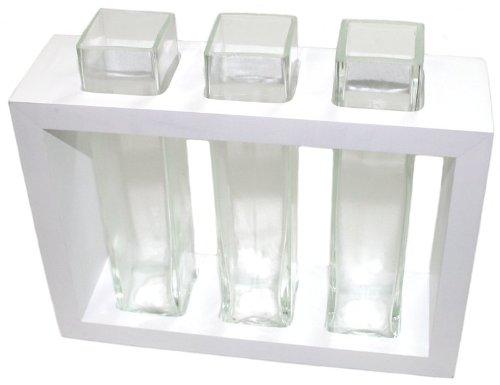 Vase aus Mangoholz mit 3 Glaseinsätzen 19 x 22 cm weiß Design Deko Vase Holz mit Glaseinsatz Holzvase