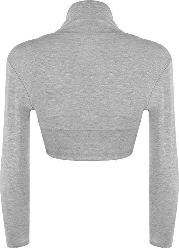 WearAll - Damen Bolero langarm Top - 16 Farben - Größe 36-42 Grau