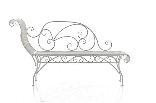 Gartenbank aus Metall in antik Weiß, eine romantische Nostalgie Liege-Bank – Ruhebank mit Ornamenten im Landhausstil - 2