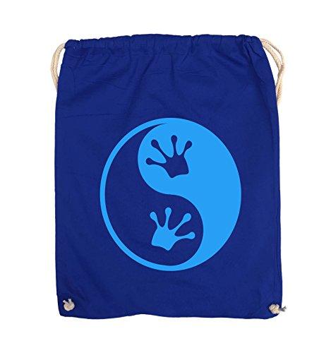 Comedy Bags - YIN YANG - FROSCH - Turnbeutel - 37x46cm - Farbe: Schwarz / Silber Royalblau / Blau
