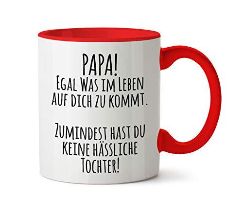 True Statements Papa Tasse Papa egal was im Leben auf Dich zukommt - Kaffeetasse, Kaffeebecher, das ideale Geschenk für den Vater zum Geburtstag