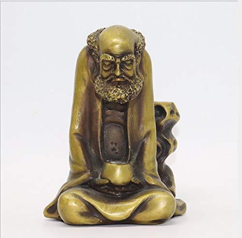 KWELJW Opening Pure Copper Dharma Back Fragrant Antique Old Dharma ancestral Buddha...
