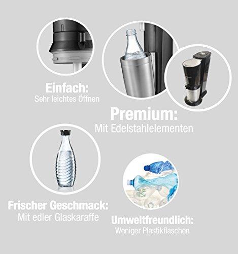 SodaStream CRYSTAL 2.0 Glaskaraffen Wassersprudler zum Sprudeln von Leitungswasser, mit spülmaschinenfester Glasflasche für Sprudelwasser. inkl. 1 Zylinder und 2 Glaskaraffen 0,6l; Farbe: Titan/Silber -