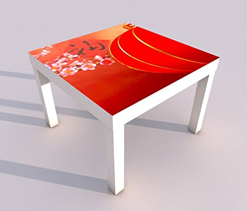 Blumen-design-tisch-lampe (Design - Tisch mit UV Druck 55x55cm Kirsche rot Baum Blumen Lampe China japanisch Garten Spieltisch Lack Tische Bild Bilder Kinderzimmer Möbel 18A1975, Tisch 1:55x55cm)
