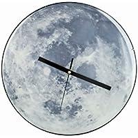 Reloj de pared con diseño de luna llena fluorescente