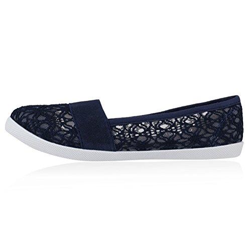 Bequeme Damen Slipper | Slip-ons Sportliche Schuhe | Flats Stoffschuhe | Prints Glitzer | Freizeitschuhe Dunkelblau Muster Amares